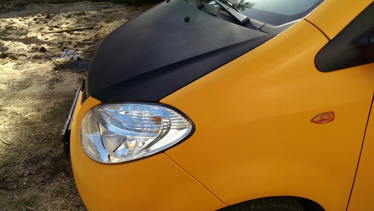 Chana Benni - полная оклейка пленкой оранжевый 4д карбон под лаком