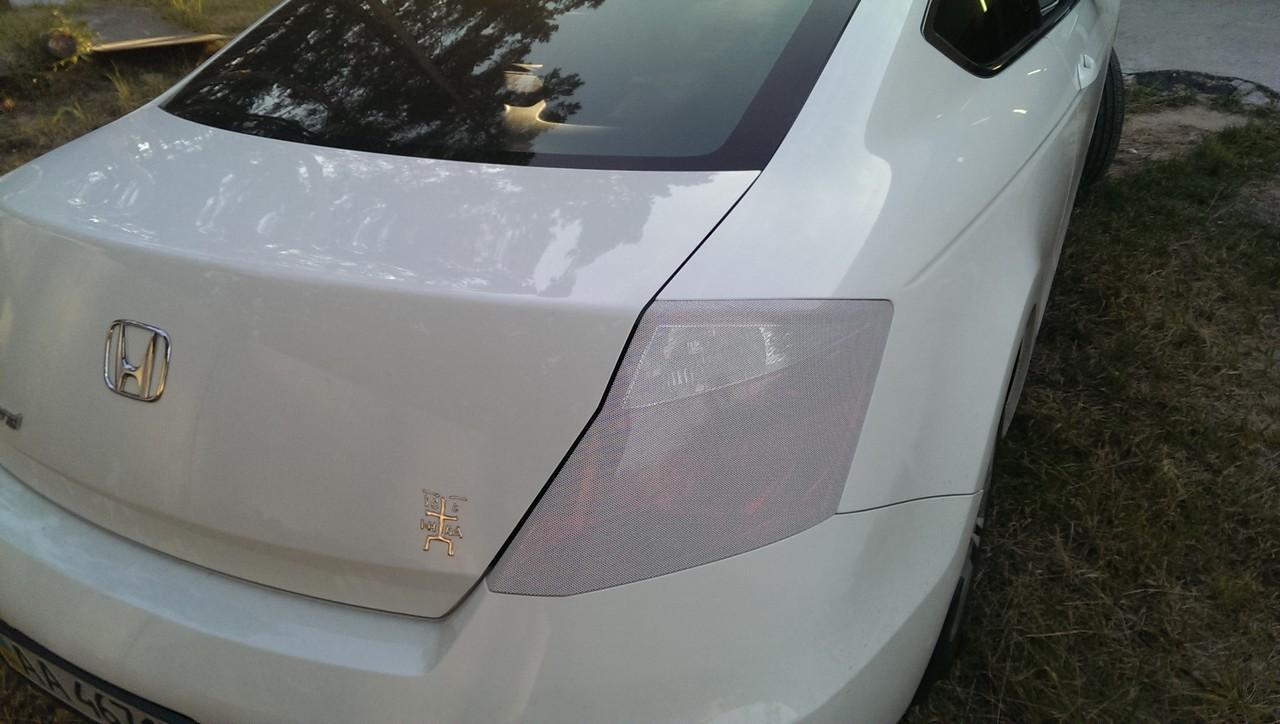 тонировка задних фар стопов пленкой белая перфориванная на хонда акорд купе