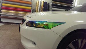 тонировка фар пленкой хамелеон желтый для фар Honda Accord