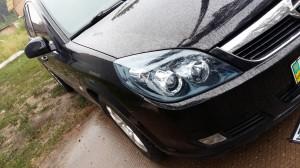 Opel Vectra C - тонировка фар голубой бронепленкой SKL-USA