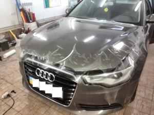 Audi A6 2012 - оклейка капота прозрачной защитной пленкой